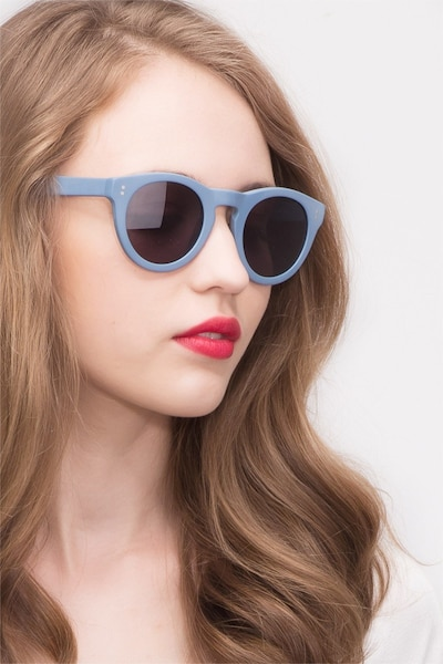 Ibiza Matte Blue Acetate Sunglass Frames for Women from EyeBuyDirect, Front View