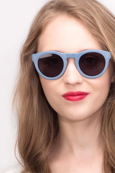 Ibiza Matte Blue Acétate Soleil de Lunettes pour Femmes d'EyeBuyDirect