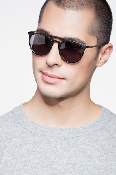 Benicia Black Metal Sunglass Frames for Men from EyeBuyDirect