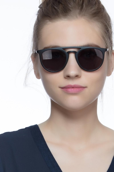 Benicia Black Metal Sunglass Frames for Women from EyeBuyDirect