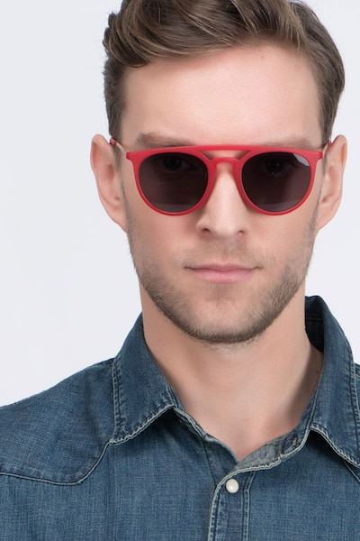 Benicia Scarlet Plastic Sunglass Frames for Men from EyeBuyDirect, Front View
