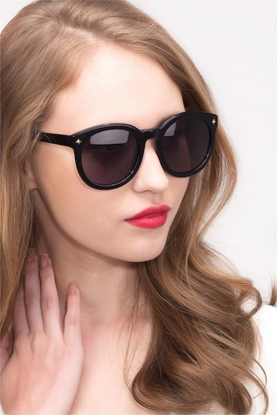 Paige Black Acetate Sunglass Frames for Women from EyeBuyDirect, Front View