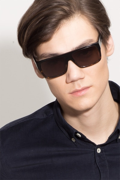 Fresh Black Tortoise Acetate Sunglass Frames for Men from EyeBuyDirect, Front View