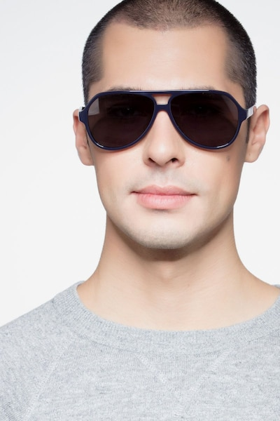Americana Navy Acetate Sunglass Frames for Men from EyeBuyDirect, Front View