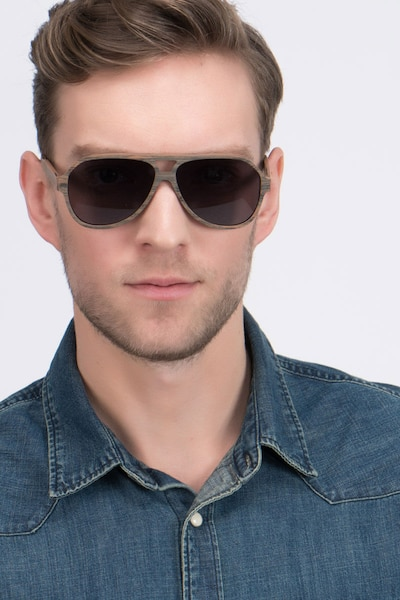 Americana Brown Acetate Sunglass Frames for Men from EyeBuyDirect, Front View
