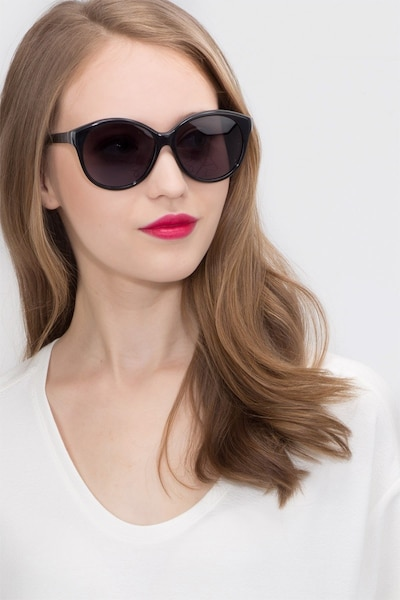 Stella Dark Gray Acétate Soleil de Lunettes pour Femmes d'EyeBuyDirect, Vue de Face