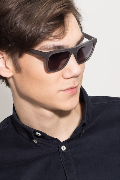 Virtual Matte Gray Acetate Sunglass Frames for Men from EyeBuyDirect, Front View
