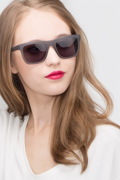 Virtual Matte Gray Acetate Sunglass Frames for Women from EyeBuyDirect, Front View