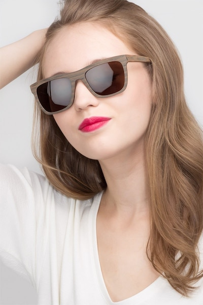 Virtual Brown Acetate Sunglass Frames for Women from EyeBuyDirect, Front View