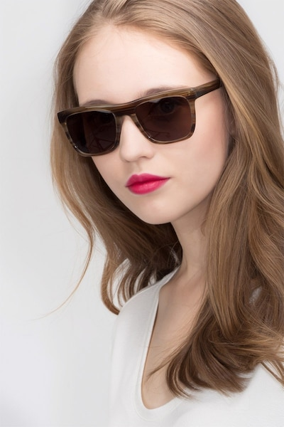 Virtual Brown Strip Acetate Sunglass Frames for Women from EyeBuyDirect