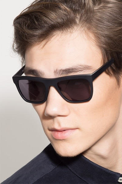 Virtual Matte Black Acetate Sunglass Frames for Men from EyeBuyDirect