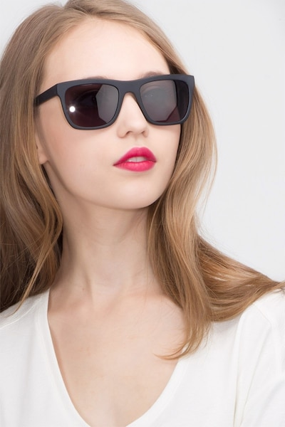Virtual Matte Black Acetate Sunglass Frames for Women from EyeBuyDirect, Front View