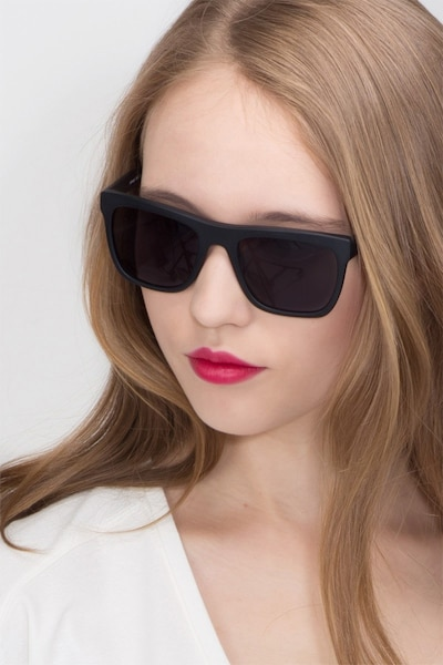 Virtual Matte Black Acetate Sunglass Frames for Women from EyeBuyDirect