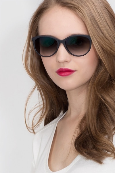 Calypso  Black  Plastic Sunglass Frames for Women from EyeBuyDirect, Front View