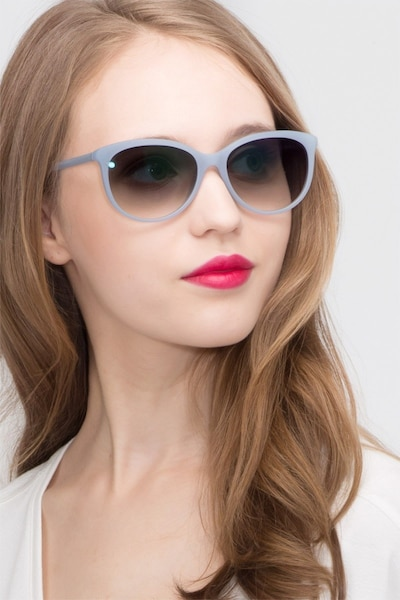 Calypso Blue Plastic Sunglass Frames for Women from EyeBuyDirect, Front View