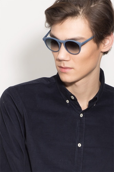 Air Blue Wood-texture Sunglass Frames for Men from EyeBuyDirect, Front View