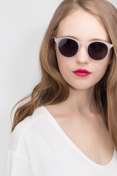 Air Matte White Acetate Sunglass Frames for Women from EyeBuyDirect, Front View