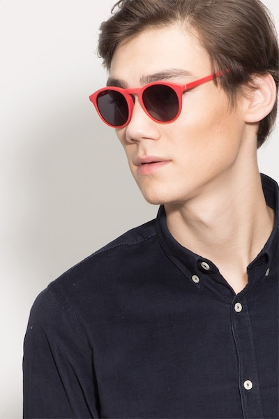 Air Matte Red Acetate Sunglass Frames for Men from EyeBuyDirect, Front View