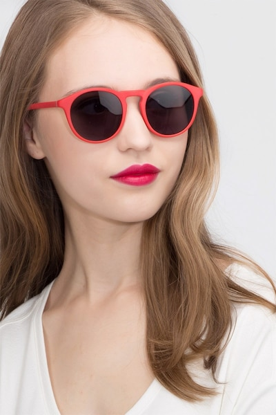 Air Matte Red Acetate Sunglass Frames for Women from EyeBuyDirect, Front View