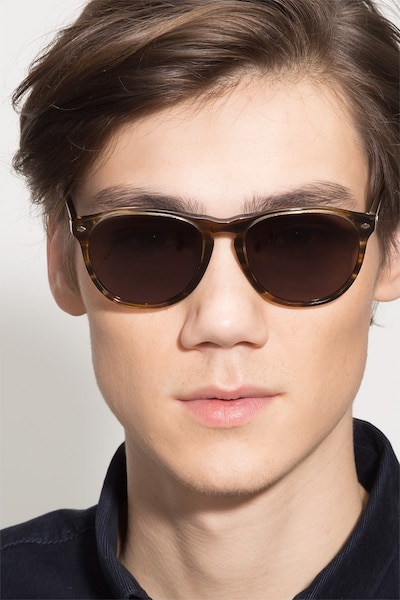 Deep End  Brown Striped  Acetate Sunglass Frames for Men from EyeBuyDirect