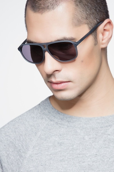Bart Matte Blue Acetate Sunglass Frames for Men from EyeBuyDirect, Front View