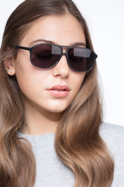 Bart Matte Gray Acetate Sunglass Frames for Women from EyeBuyDirect, Front View