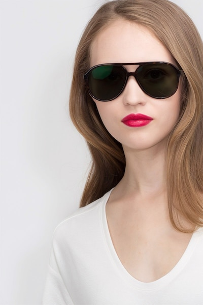 Jakarta Tortoise Acetate Sunglass Frames for Women from EyeBuyDirect, Front View
