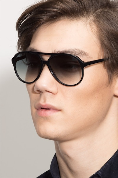 Jakarta Black Acetate Sunglass Frames for Men from EyeBuyDirect, Front View