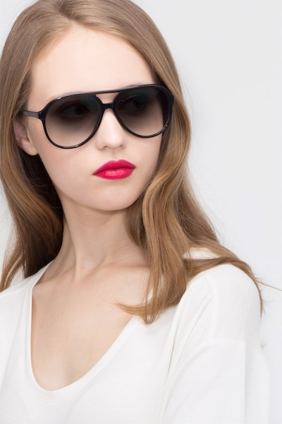 Jakarta Black Acetate Sunglass Frames for Women from EyeBuyDirect, Front View