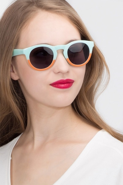 Sunset  Light Blue  Plastic Sunglass Frames for Women from EyeBuyDirect, Front View