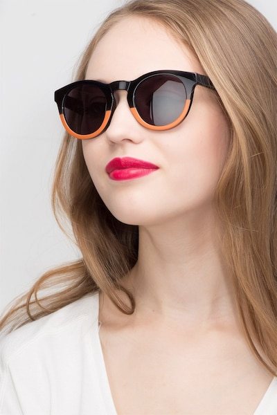 Sunset Black Plastic Sunglass Frames for Women from EyeBuyDirect, Front View