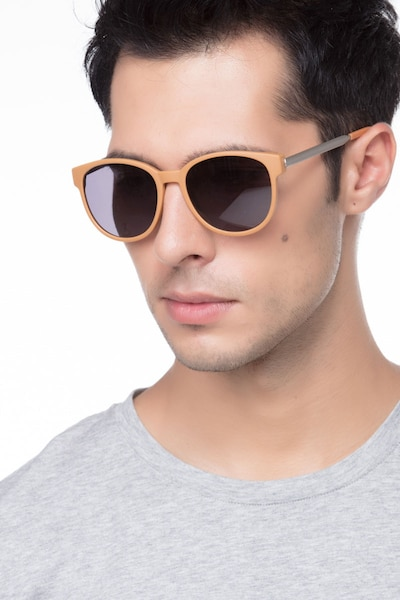 Terracotta Matte Orange Metal Sunglass Frames for Men from EyeBuyDirect, Front View