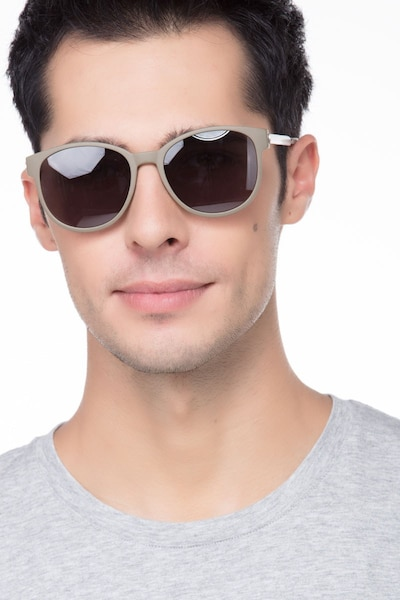 Terracotta Dark Green Plastic Sunglass Frames for Men from EyeBuyDirect, Front View
