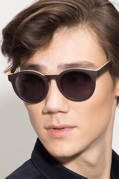 Oasis Matte Coffee Plastic Sunglass Frames for Men from EyeBuyDirect