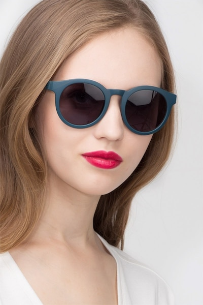 Oasis Matte Blue Plastic Sunglass Frames for Women from EyeBuyDirect, Front View