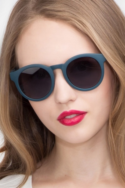 Oasis Matte Blue Plastic Sunglass Frames for Women from EyeBuyDirect