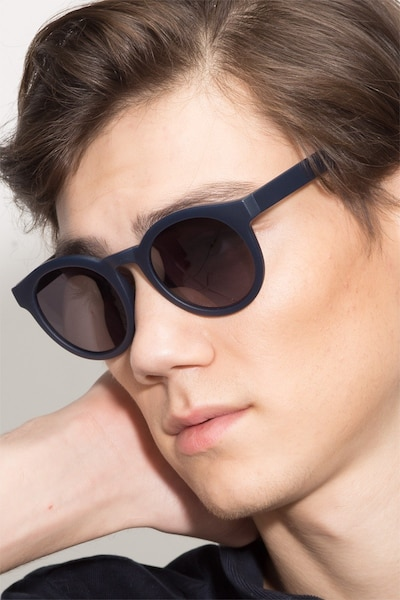 Oasis Matte Navy Plastic Sunglass Frames for Men from EyeBuyDirect