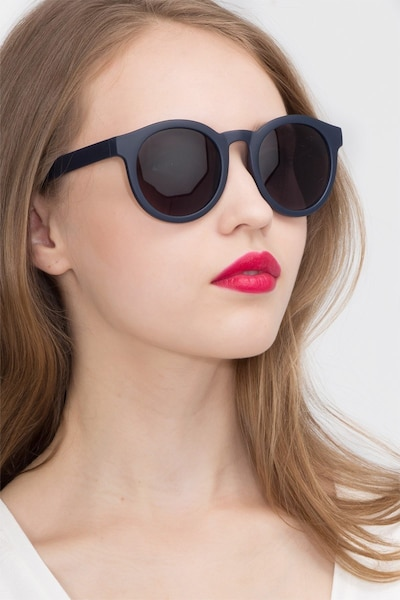 Oasis Matte Navy Plastic Sunglass Frames for Women from EyeBuyDirect, Front View