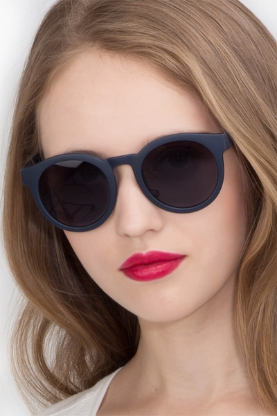 Oasis Matte Navy Plastic Sunglass Frames for Women from EyeBuyDirect