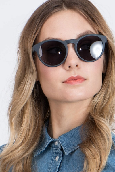 Taylor Matte Navy Plastic Sunglass Frames for Women from EyeBuyDirect, Front View