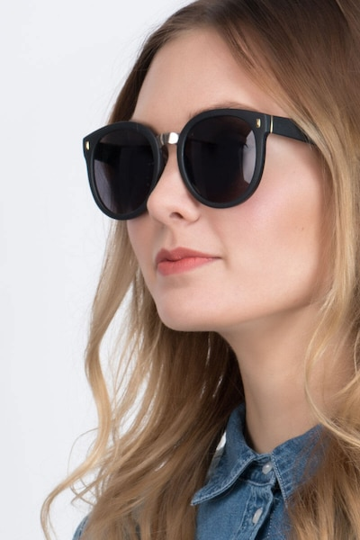 Vedette Matte Black Metal Sunglass Frames for Women from EyeBuyDirect, Front View