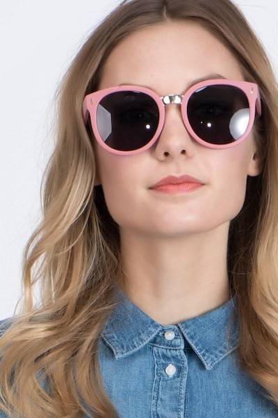 Vedette Matte Pink Metal Sunglass Frames for Women from EyeBuyDirect, Front View