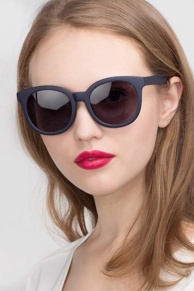 Elena Matte Navy Plastic Sunglass Frames for Women from EyeBuyDirect