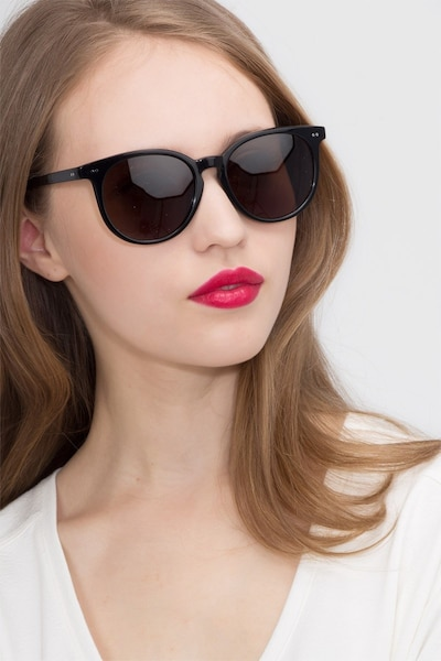 Meraki Black Acetate Sunglass Frames for Women from EyeBuyDirect, Front View