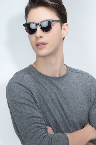 Shadow Viridian Acetate Sunglass Frames for Men from EyeBuyDirect, Front View