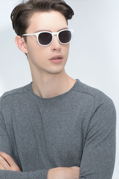 Ethereal Cream Acetate Sunglass Frames for Men from EyeBuyDirect, Front View