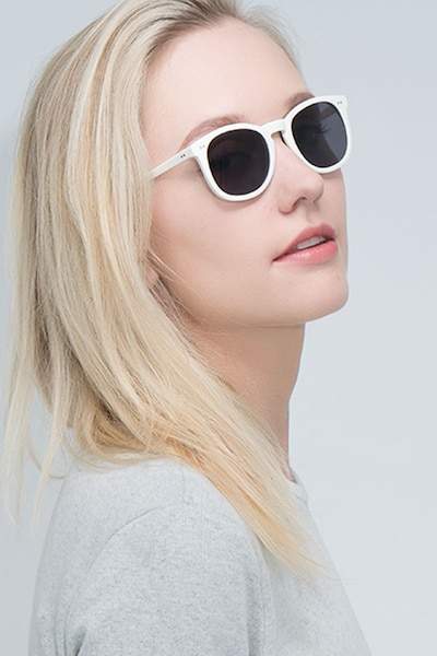 Ethereal Cream Acetate Sunglass Frames for Women from EyeBuyDirect, Front View