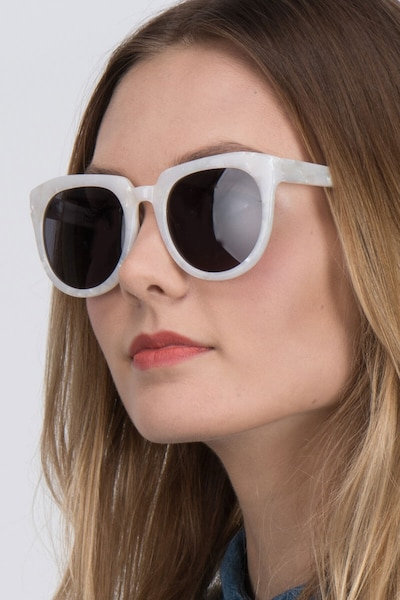 Laohu White Acetate Sunglass Frames for Women from EyeBuyDirect