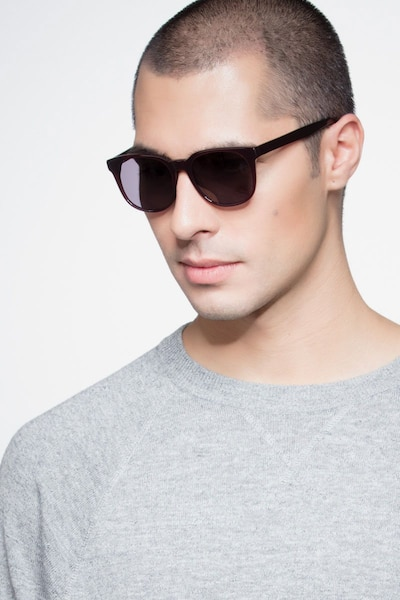 Tempest Purple Brown Acetate Sunglass Frames for Men from EyeBuyDirect, Front View