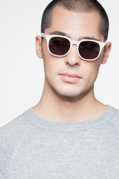 Tempest White Acetate Sunglass Frames for Men from EyeBuyDirect, Front View